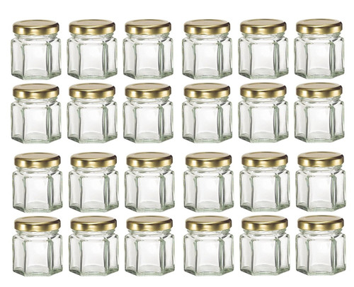 Mini Hexagon Glass Jars, 1.5oz, Pack of 24