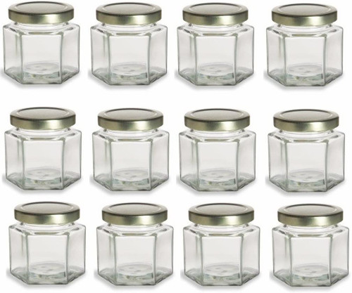 Hexagon Glass Jars, 4oz with Gold Lid - Pack of 12