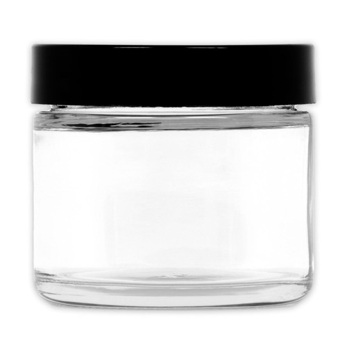 2 oz Clear High End GLASS Jar Straight Sided w/ Plastic Lined Cap