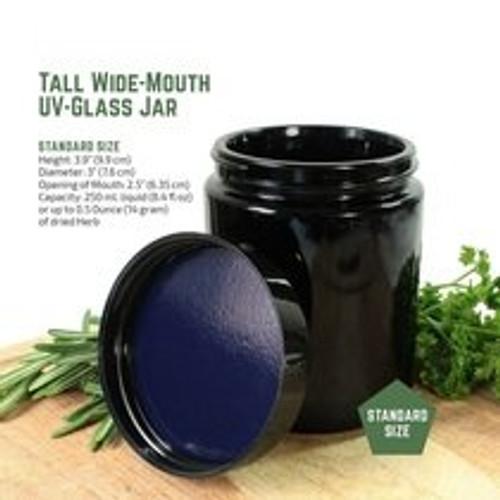 250ml Ultraviolet Glass Jar - Airtight Smell-Proof Ultraviolet Storage Jar