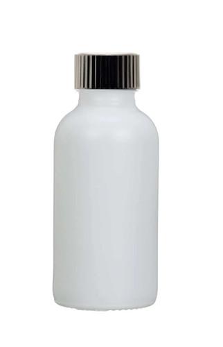 1 Oz Matt White Glass Bottle w/ Black Poly Seal Cone Cap