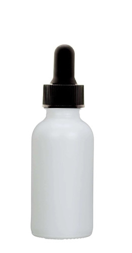 1 Oz Matt White Glass Bottle w/ Black Regular Dropper
