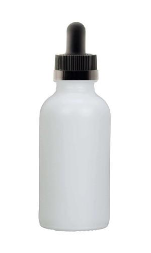 1 Oz Matt White Glass Bottle w/ Black Child Resistant Dropper