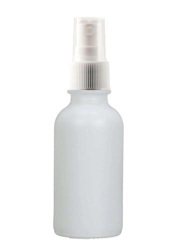 1 Oz Matt White Glass Bottle w/ White Fine Mist Sprayer