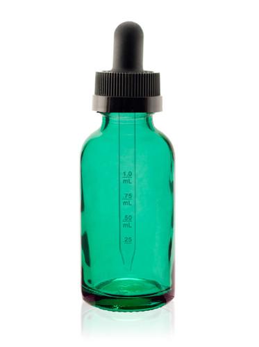 1 oz Specialty Caribbean Green Boston Round w/ Black Child Resistant Calibrated Dropper