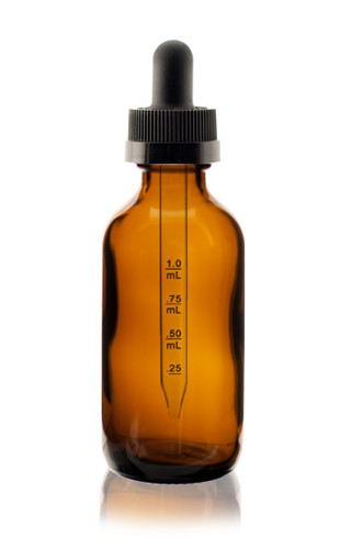 1 oz Amber Boston Round Glass Bottle w/ Black Child Resistant Calibrated Glass Dropper