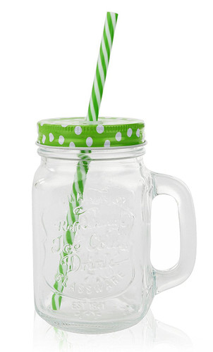 f5984b7c9f71 16 Oz. Mason Jar Mugs with Handle, COLOR Steel Lid and Plastic Straws -  Pack of 4