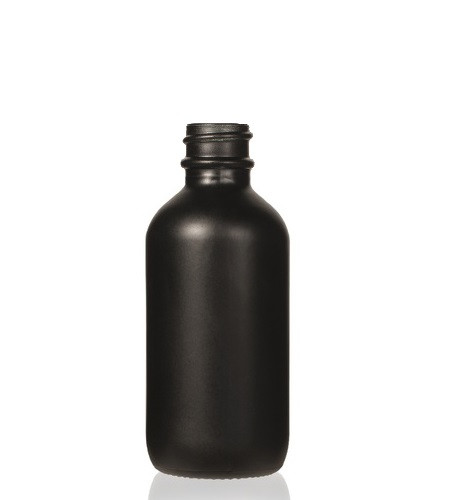 2 oz Matt Black -colored clear glass bottle with 20-400 neck finish
