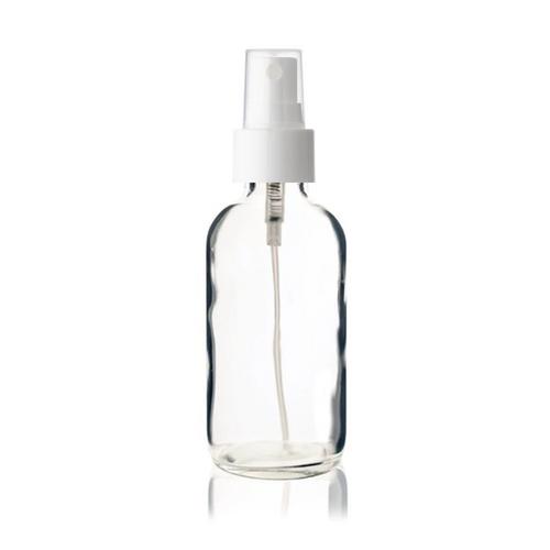 4 oz CLEAR Glass Bottle - w/ Smooth White Fine Mist Sprayer