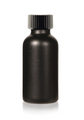4 Oz Matt Black Glass Bottle w/ Black Poly Seal Cone Cap