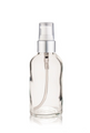 1 Oz Clear Glass Bottle w/ Matte silver and White Treatment Pump