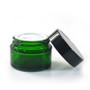 2 oz Glass Green Cream Jar with White Insert and Black Lid - pack of 24