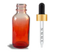 1 oz Red-shaded clear glass bottle w/ Black-Gold Calibrated Dropper - Case of 180