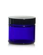 (Case of 160) 1 oz Cobalt Blue GLASS Jar Straight Sided w/ Black Plastic Lined Cap