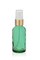 1 Oz Caribbean Green Glass Bottle w/ White-Matte Gold Treatment Pump