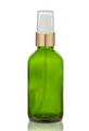 2 Oz Green Glass Bottle w/ White-Matte Gold Treatment Pump