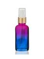 2 Oz Multi Fade Glass Bottle w/ White-Matte Gold Treatment Pump