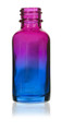 1 Oz Specialty Multi Fade Cosmic Cranberry and Teal blue Boston Round w/ Black Child Resistant Dropper
