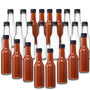 5 oz clear glass woozy hot sauce bottle with black Cap and inserts 24-414 neck finish - pack of 24