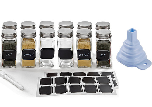 Set Of 12 4 Oz Square Glass Spice Jars With Shaker Tops