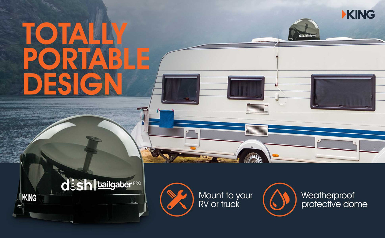 The DISH Tailgater Pro is designed to be totally portable. Mount the DISH satellite for RVs to the roof if you're serious about staying connected on the road, or keep your DISH antenna unmounted and take it to your next picnic, cookout, or tailgate party.