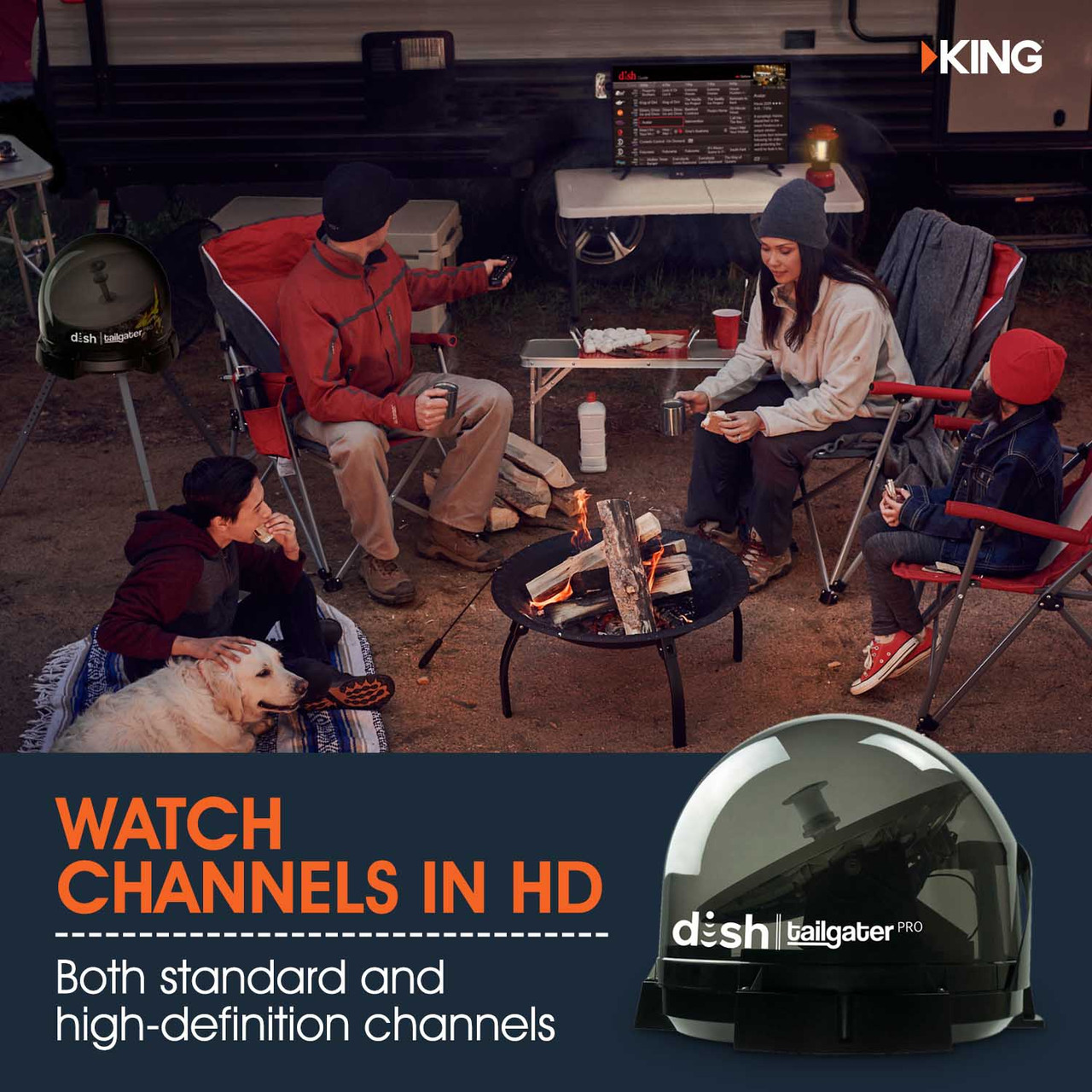 The DISH network portable satellite dish from KING allows you to watch your favorite programming in both standard definition as well as HD. Better yet, the KING Tailgater Pro supports up to two DISH receivers (sold separately), allowing you to watch two TVs at the same time.