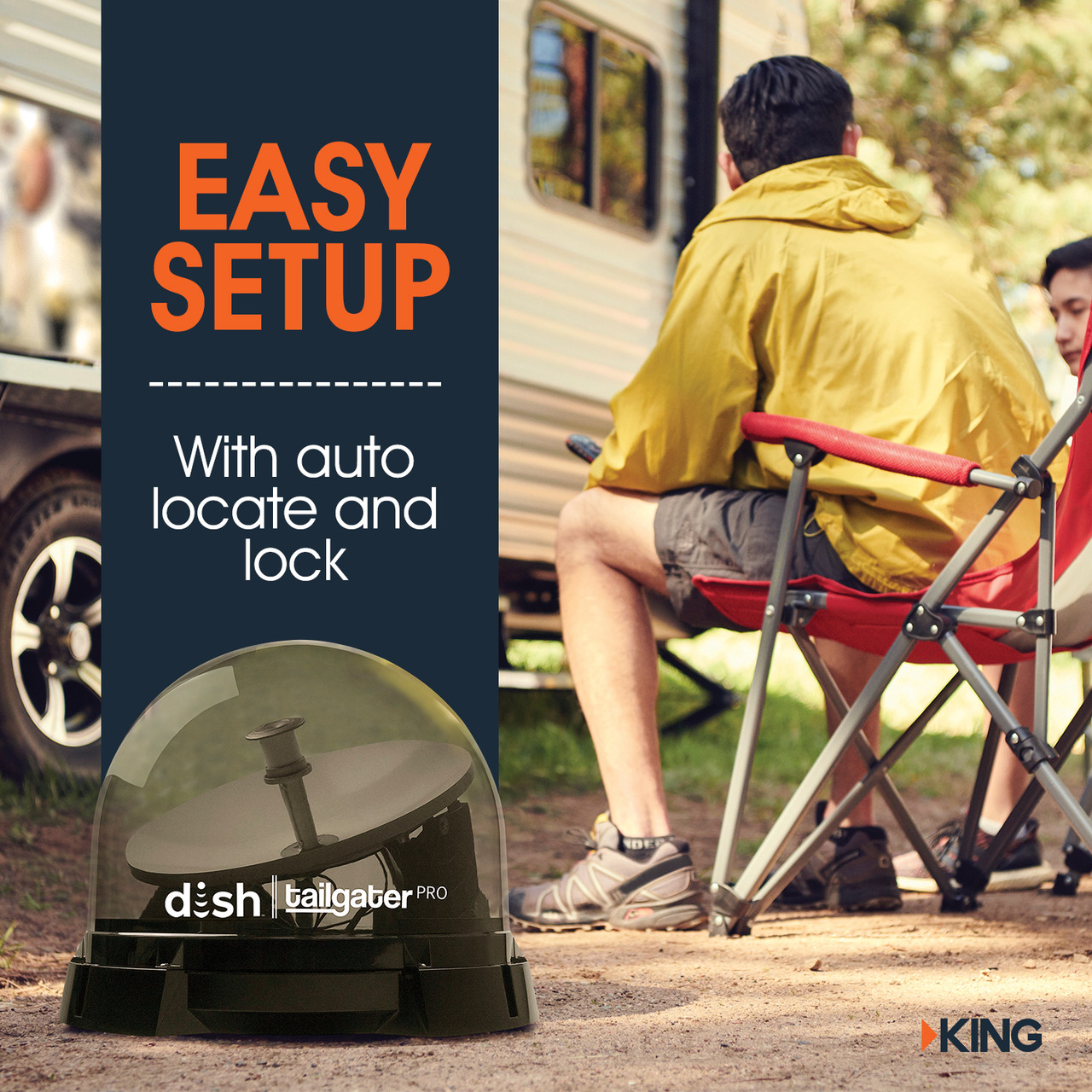 The KING DISH Tailgater Pro is designed to be set up in moments. Simply point it at the sky, connect it to your satellite receiver and follow the onscreen prompts on your TV. With the auto signal locking technology, this portable satellite dish for RVs and camping is super easy to set up anywhere.