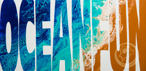 "10x20 inch canvas with acrylic pour painting inside text ""OCEAN FUN"" by Jennylynn Fields of CraftyJenn"