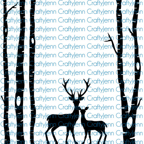 Trees & Deer 12x12 Silhouette Vinyl Decal - White