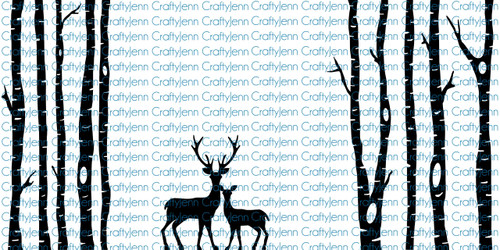 Trees & Deer 10x20 Silhouette Vinyl Decal - White