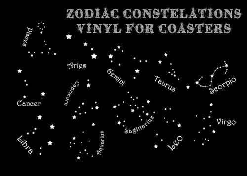 Zodiac Constellations for Coasters Vinyl Stickers (set of 12)