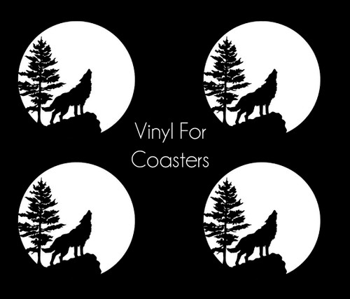 Howling Wolf Vinyl Application for Resin Coasters (Set of 4)