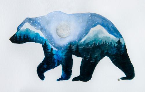Mountain Bear Art Card
