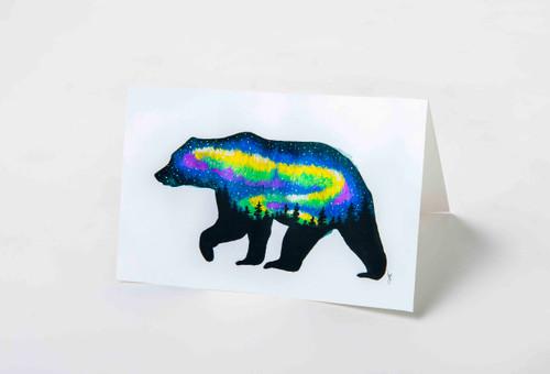 Northern Lights Bear Art Card