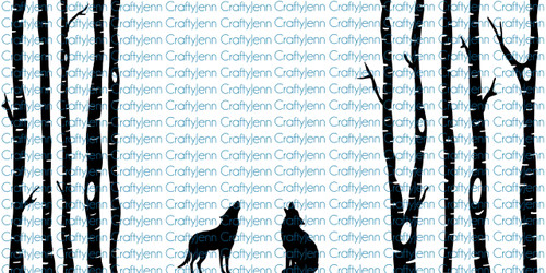 Trees & Wolves 10x20 Silhouette Vinyl Decal - White