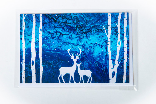 Northern Lights Deer & Trees Art Card