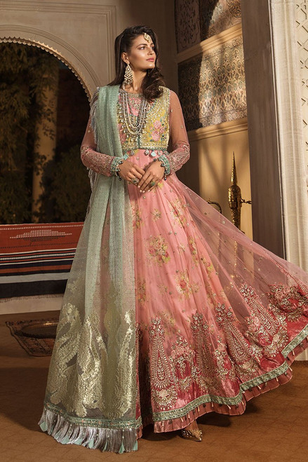 Maria B Embroidered Daffodil Yellow and Candy Pink (BD-1802)
