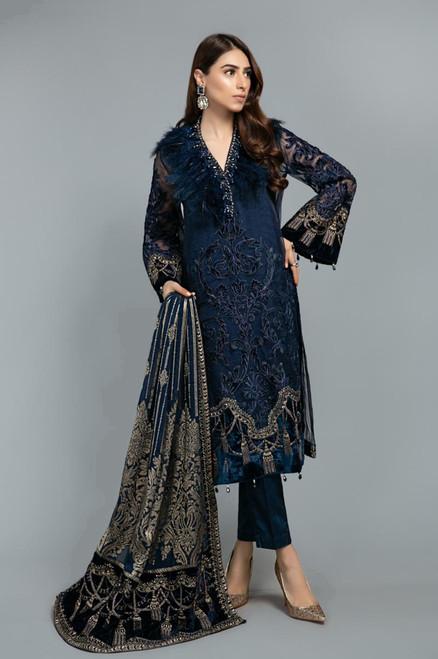 Maria B Mbroidered Deep Sapphire Blue