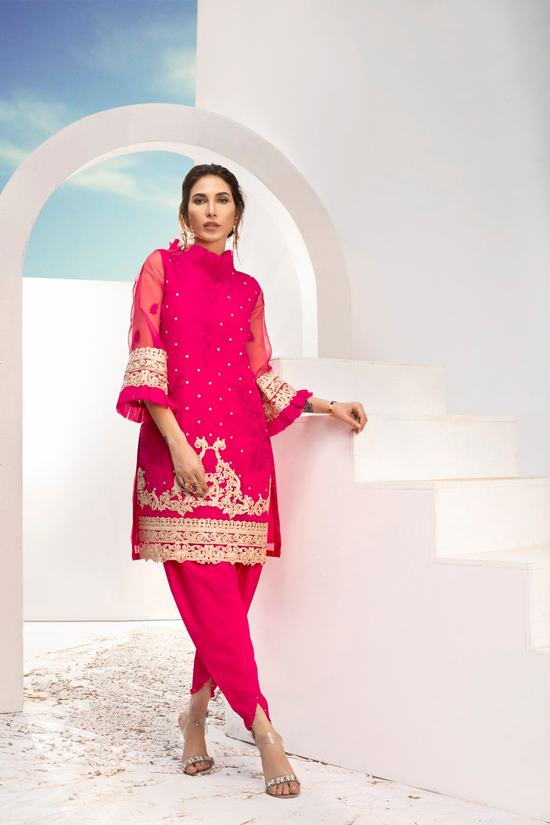 Azure Embroidered Kurti Fushia Bling -LFD03 (Hot Pink)