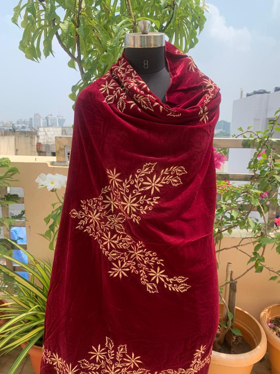 Embroidered Velvet Shawl Maroon