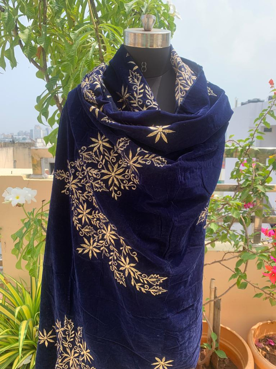 Embroidered Velvet Shawl Blue