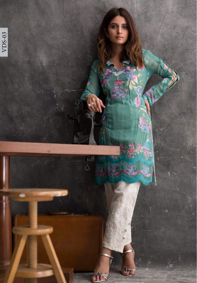 Veena Durrani Embroidered Kurti VDS-03