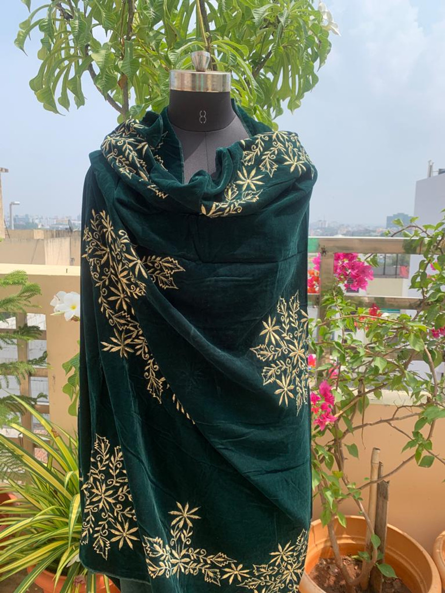 Embroidered Velvet Shawl Green