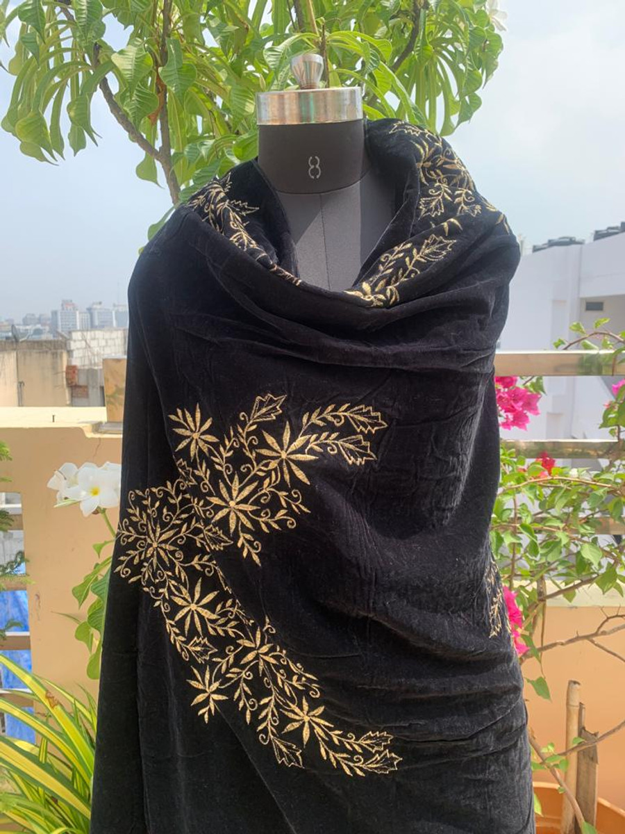 Embroidered Velvet Shawl Black