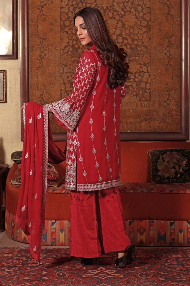 Angan by Zebaish – Luxury Embroidered Chiffon Formal Collection – Coral Berry