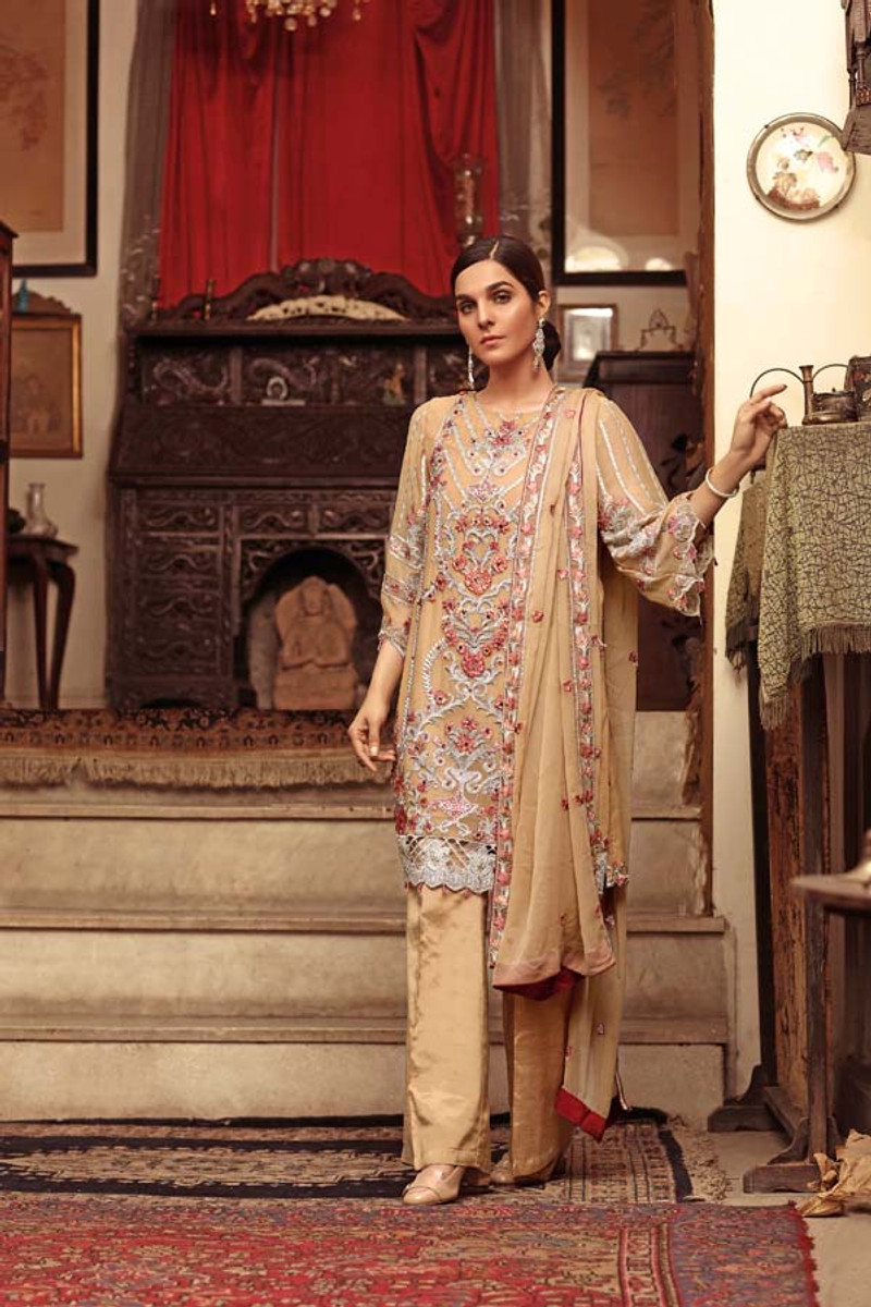 Angan by Zebaish – Luxury Embroidered Chiffon Formal Collection – Silky Fern