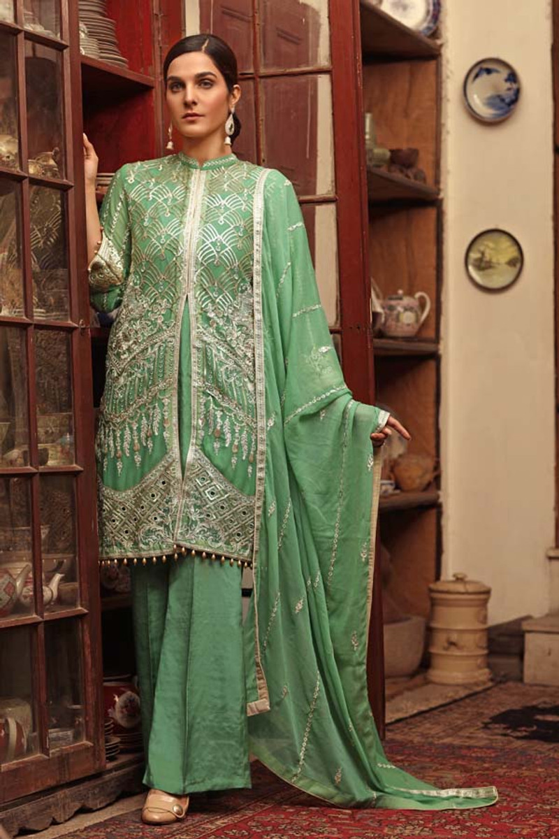Angan by Zebaish -Luxury Embroidered Chiffon Formal Collection-Canary Palm