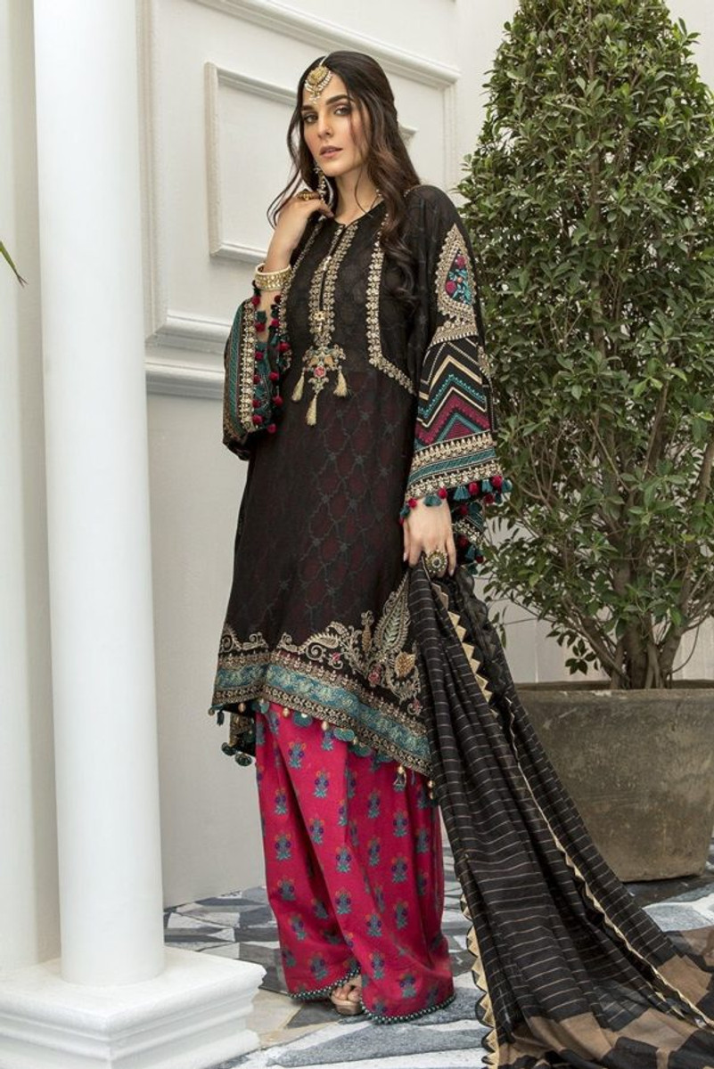 MARIAB Lawn Eid 2020-09 (Black and Magenta)