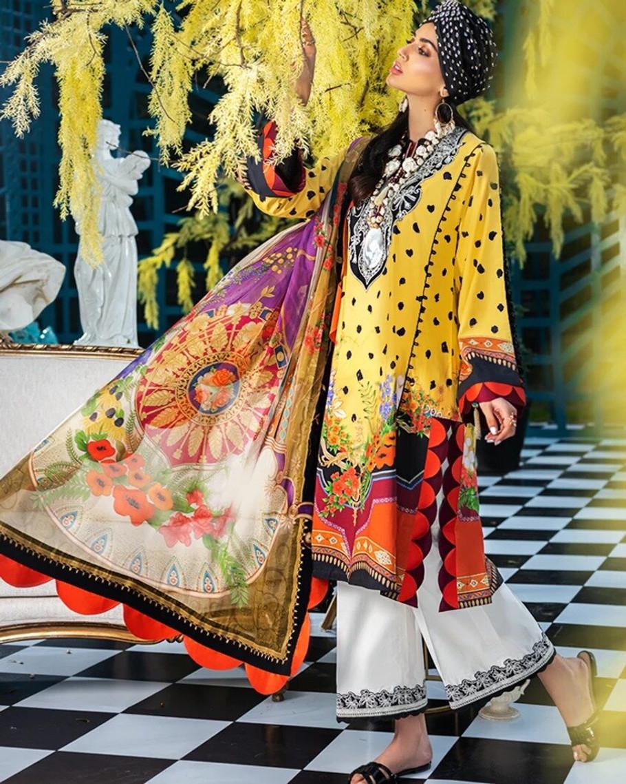 Zaha by Khadijah Shah Embroidered Lawn – MIRIANA (ZL-03)
