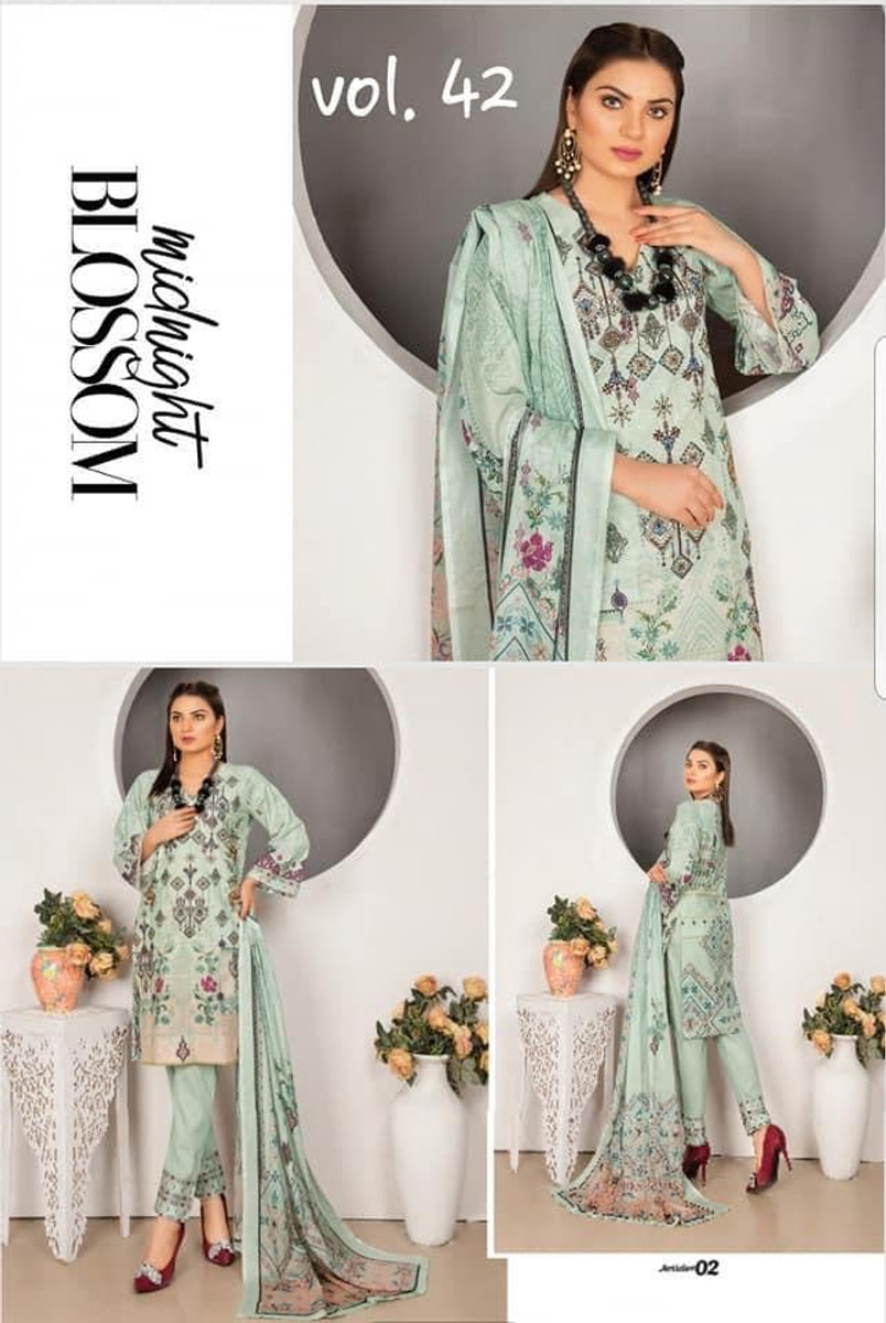 Modern Embroidered Lawn Vol-42 M02